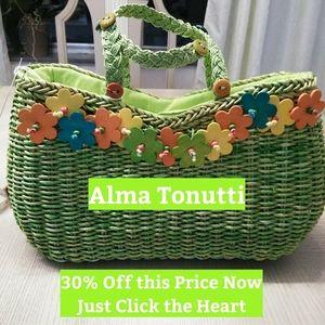 Alma Tonutti, Straw bag W/ Flowers